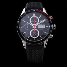 Tag Heuer Carrera Chronograph Swiss Valjoux 7750 Movement with Black Dial-Rubber Strap