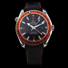 Omega Seamaster Working GMT Automatic Orange Bezel with Black Dial-Rubber Strap