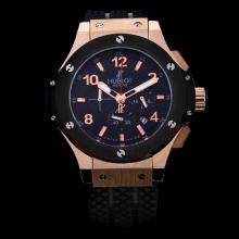 Hublot Big Bang Working Chrono Rose Gold Case with Black Carbon Fibre Style Dial-Rubber Strap