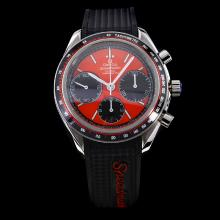 Omega Speedmaster Chronograph Swiss Valjoux 7750 Movement with Red Dial-Rubber Strap
