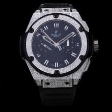 Hublot Big Bang King Chronograph Swiss Valjoux 7750 Movement Diamond Case and Bezel with Black Dial-Rubber Strap