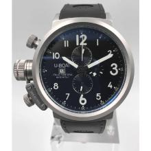 U-Boat Italo Fontana Working Chronograph White case  with Black Dial-Leather Strap