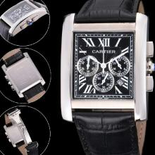 Cartier Tank Working Chronograph stainless steel Case With black Dial-Leather Strap