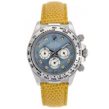 Rolex Daytona Chronograph Arbeitsgruppe Diamant Markers And Blue MOP Dial - Yellow Leather Strap