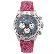 Rolex Daytona Chronograph Arbeitsgruppe Red Diamond Markers And Blue MOP Dial - Pink Leather Strap
