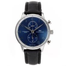 IWC Portugueser Working Chronograph Mit Blue Dial-Leather Strap