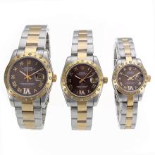Rolex Datejust Automatic Two Tone Diamond Bezel Roman Marker Mit Brown Dial-Saphirglas